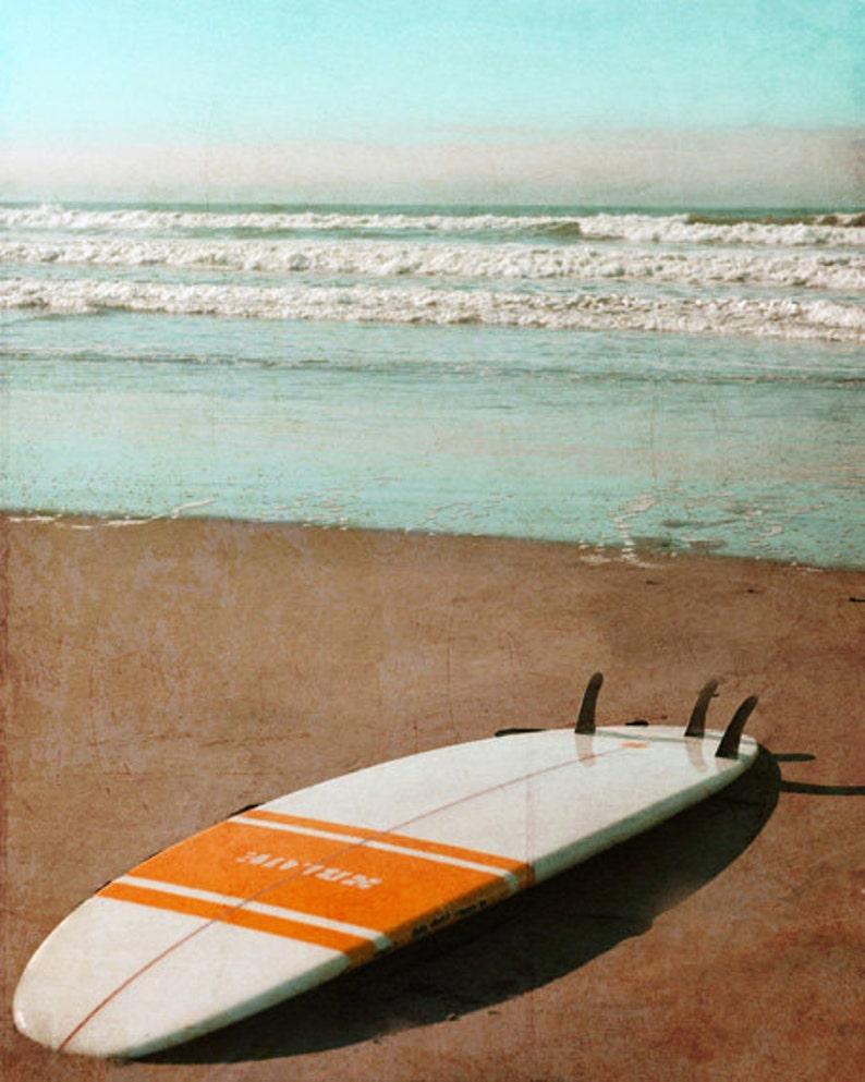 Vintage Surfboard Art Print  Retro Beach Surf Orange White image 0