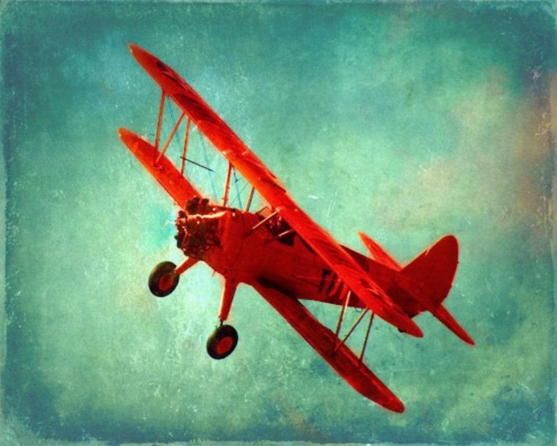 Vintage Airplane Art Print  Nursery Boys Room Red Aqua Blue image 0