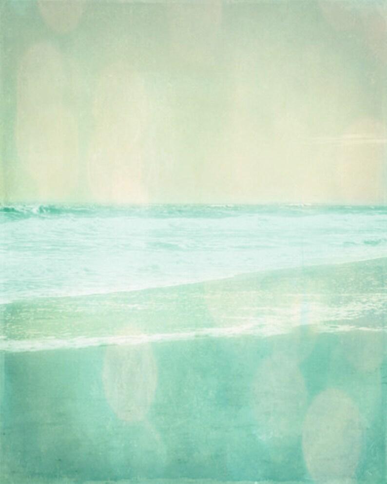 Beach Vintage Art Print  Aqua Soft Pastel Ethereal Bokeh image 0