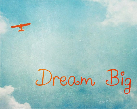 Vintage Airplane Print Dream Big Inspirational Quote Boy Etsy