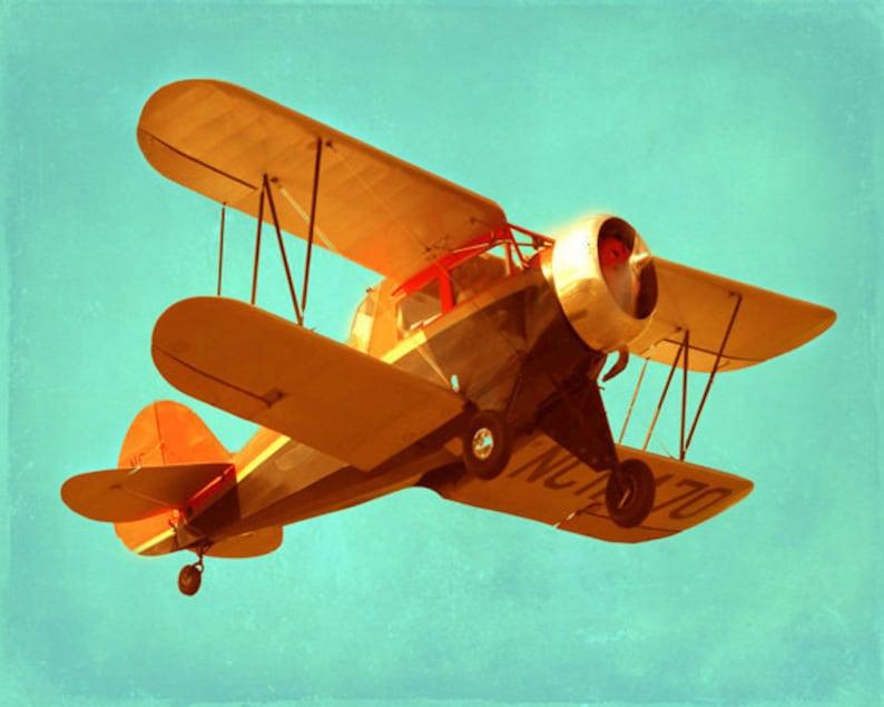 Vintage Airplane Art Print  Antique Plane Nursery Boy Room image 0