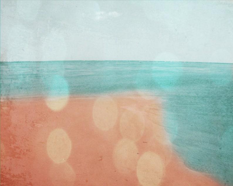 Beach Bokeh Art Print  Aqua Peach Pink Dreamy Summer Ocean image 0