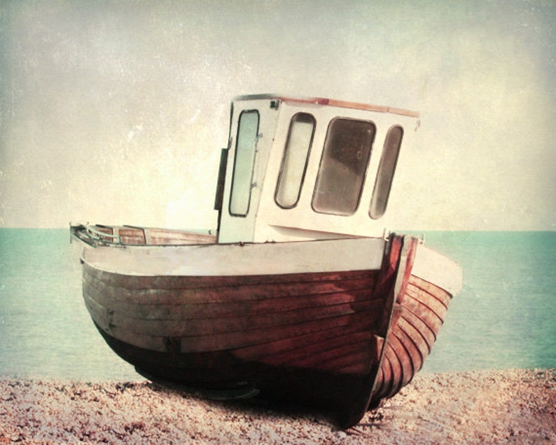Vintage Boat Art Print  Brown Aqua Retro Beach Blue Beach image 0
