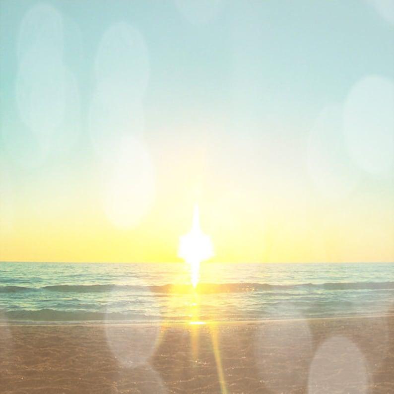 Beach Sunset Bokeh Art Print  Aqua Yellow Soft Beach House image 0