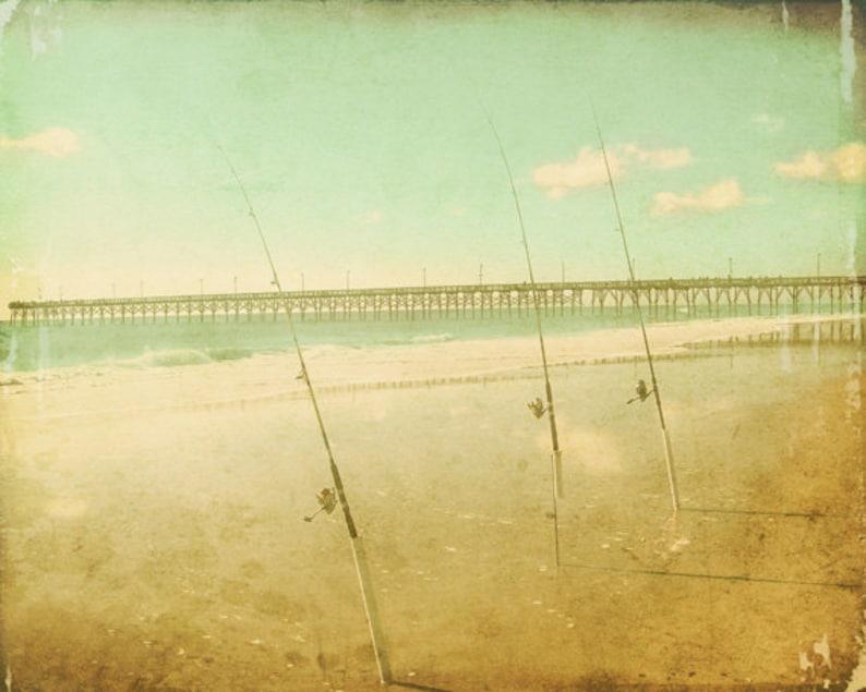 Vintage Surf Fishing Beach Art Print  Aqua Green Dreamy Soft image 0