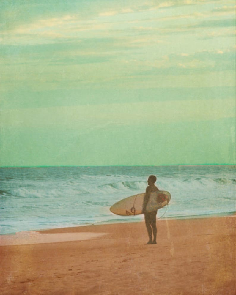 Vintage Surfer Art Print  Green Blue Beach House Wall Decor image 0