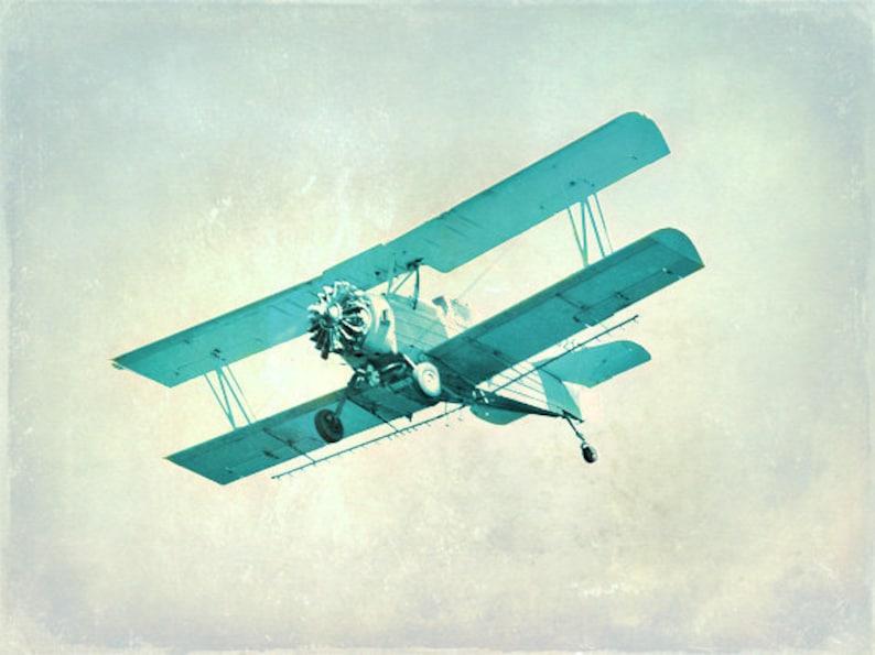 Vintage Airplane Nursery Print Blue Aqua Plane Nursery image 0