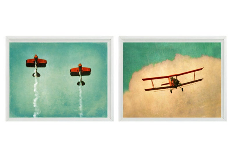 Vintage Airplane Art Plane Nursery Boy Room Decor Baby Boy ...