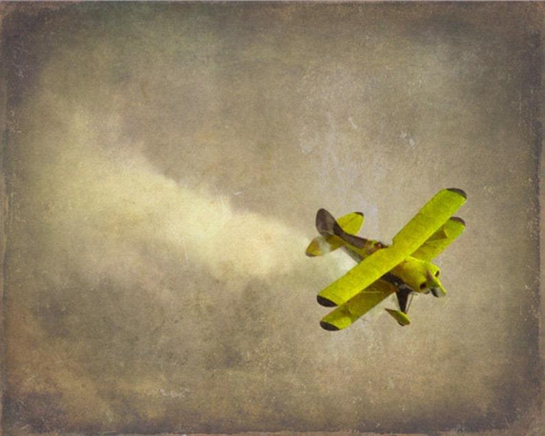 Vintage Airplane Art Print  Nursery Biplane Yellow Gray Decor image 0