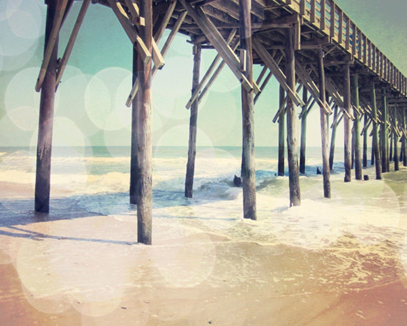 Beach Pier Bokeh Art Print  Aqua Brown Sand Ocean Beach House image 0