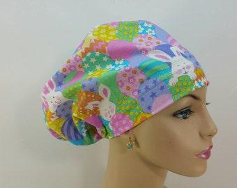 Mini - Chemo Cap - Nurses Hat - European Style - Funny Bunny - Easter Egg  Hide   Seek - Lavender - 100 % Cotton - (Contain glitters) c6df8b35af80