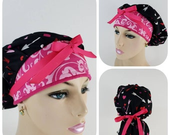 e3e75989756 Bouffant Cap / Medical Cap / Surgical Scrub Hat - Scattered Arrows and  Little Hearts - 100 % Cotton