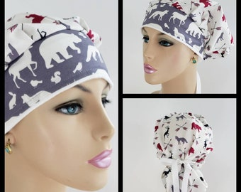 ba65ce8d564 Bouffant Cap/Medical Cap/Surgical Scrub Hat - Walk in the Woods - Polar  Bears - 100 % Cotton