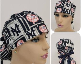 c05d0454c48ab Ponytail Medical Scrub Cap - MLB - New York Yankees - 100% cotton