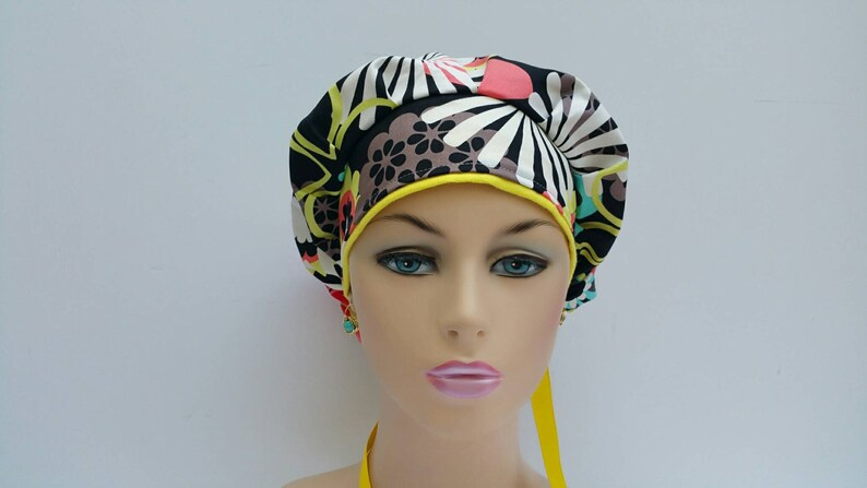 100 /% Cotton Flowers and Petals Over A Dark Ground Bouffant CapMedical CapSurgical Scrub Hat