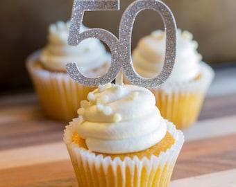 Set of 12 50th Custom Numbers Birthday Wedding Anniversary Cupcake Toppers   Birthday   Custom Cupcake Toppers  