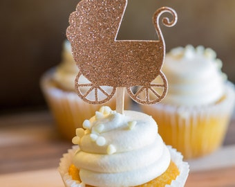 Set of 12 Baby Carriage Buggy Cupcake Toppers   Baby Shower   Custom Cupcake Toppers   Gender Reveal  