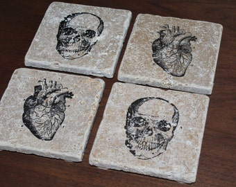 Set of 4 Human Anatomy Heart And Skull Tumbled Marble Coasters