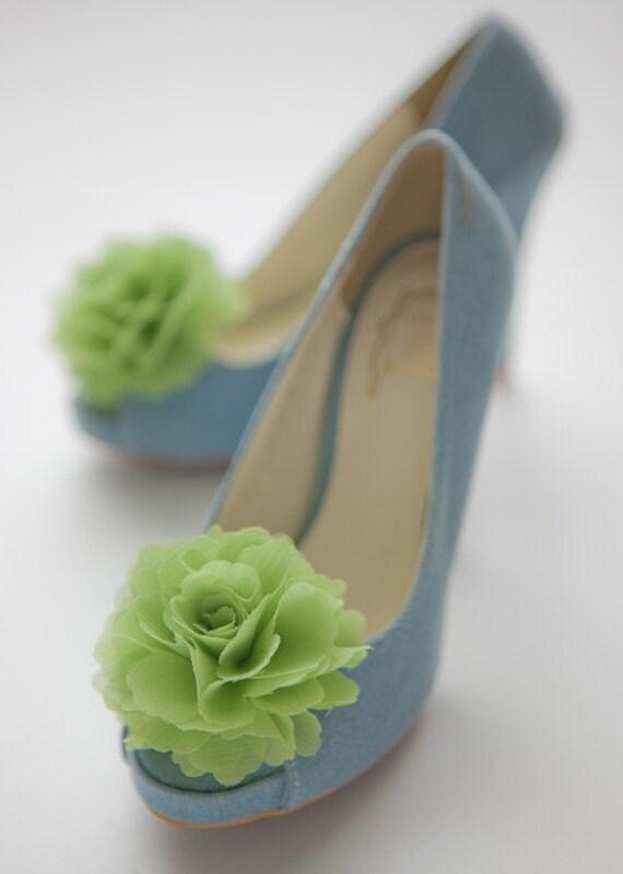 Citron vert-lot de 2, clips de chaussures fleur en mousseline de soie pour la mariée mariage-Choisissez votre couleur