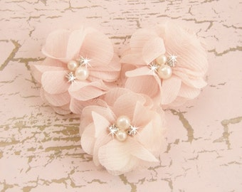 """Blush Pink 2"""" Chiffon Flowers with Rhinestones and Pearls -  Hand-dyed Blush Fabric Flowers"""