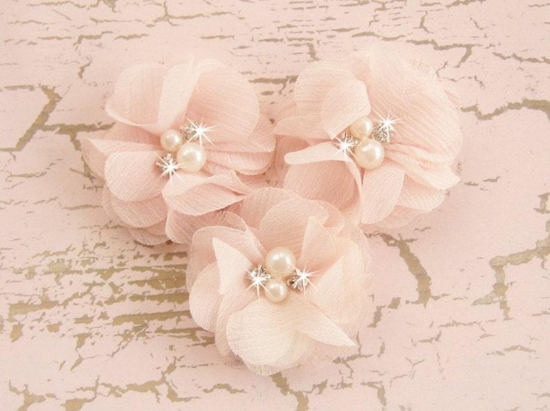 Blush Pink 2 Chiffon Flowers with Rhinestones and Pearls image 0