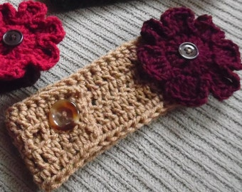 Warm Brown Headband with 2 Interchangeable Flowers, Gold & Claret