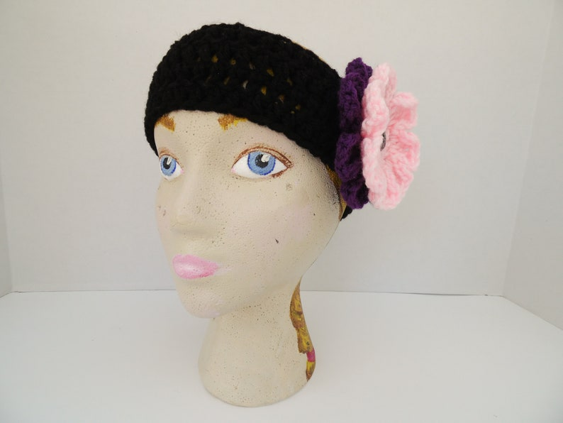 Baby Pink Black Headband with 2 Interchangeable Flowers Dark Orchid