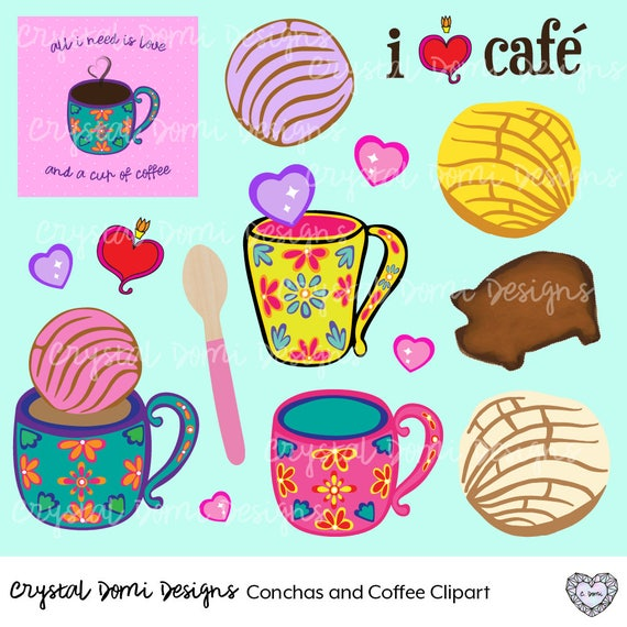 Crystal Domi Designs Conchas And Coffee Clipart Instant Etsy