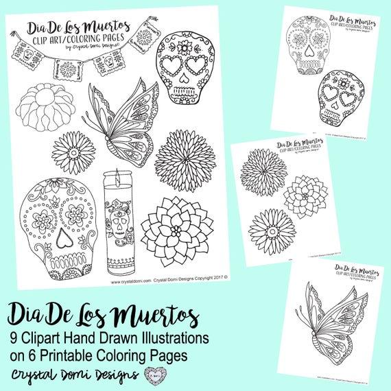 Dia De Los Muertos Clipart Printable Coloring Pages Instant | Etsy
