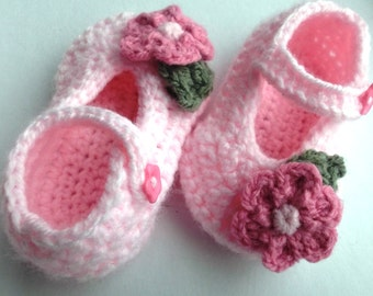 Crochet baby shoes, Pink  Mary Janes;  3-6 month baby girl shoes, daisy baby shoes; ready to ship, uk seller