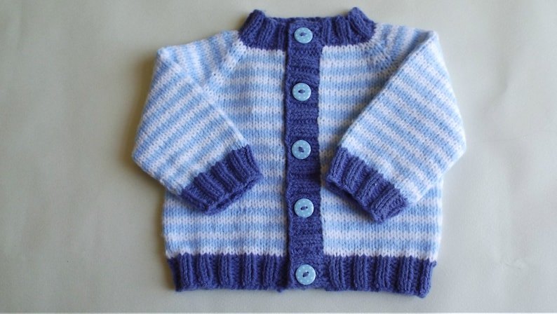nautical sweater Striped baby sweater baby boy cardigan ready to ship. striped cardigan spotty buttons; 3-6 month blue baby cardigan