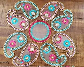 Diwali Rangoli, Wedding table decor, Indian house warming gifts, hostess gift- keri Blue + Green, Red+ Green, Orange+ Green