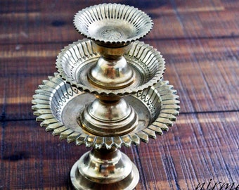 Brass Embossed Footed Plate stand   Brass embossed round stand   Brass candle holder dish   Brass Dish