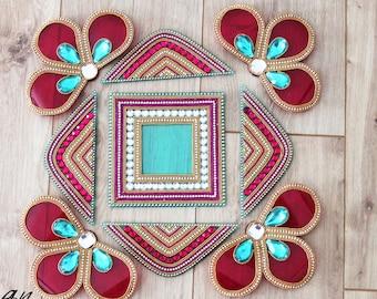Acrylic floor art - Diwali Rangoli Kundan - Bollywood inspired, Indian Wedding decor, Rangoli, Pink Blue Gold White and gold rangoli,