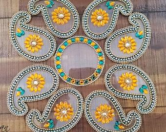 Indian wedding paisley table décor - Deepawali Indian Festival Reusable Floor Décor Diwali Rangoli- Small Keri