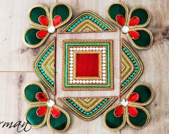 Acrylic floor art - Diwali Rangoli Kundan - Bollywood inspired, Indian Wedding decor, Rangoli, Green Red Gold White and gold rangoli,