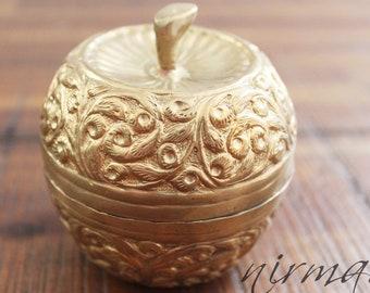 Brass jewelry box  Royalty Brass Jewelry Box from India   Apple Brass Lidded Trinket   Brass ornate box   Brass Tika box
