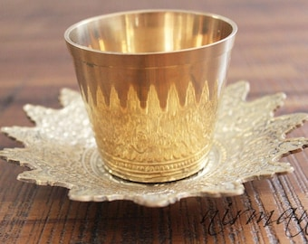Brass cup with embossed floral tray  Royalty Brass Cup from India   Floral Brass Cup   Brass cup holder   Brass cup
