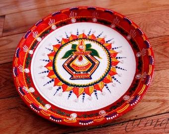 Kalash Pooja Thali-Decorative Henna Mehndi Design Thali-Festive HomeDecor-Nikah-Shadi decor-Indian-Pakistani-Desi- Wedding Centerpiece