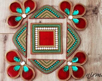 Acrylic floor art - Diwali Rangoli Kundan - Bollywood inspired, Indian Wedding decor, Rangoli, Red Green Gold White and gold rangoli,