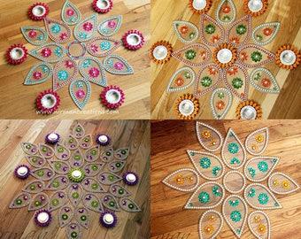 Rangoli, floor art -  Big/ Small Pan (Dual Colour Stone)  - set of 7 pieces