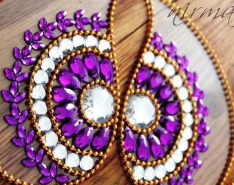 Rangoli, floor art -  Mirror Pan - Purple and White -set of 11 pieces