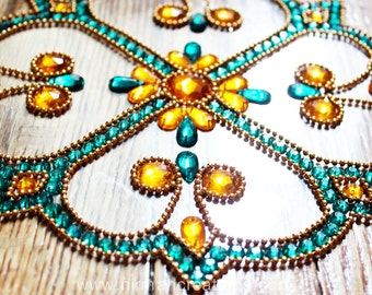 Diwali floor art, reusable Rangoli with 8 Corners, one piece design, easy set up Rangoli, Home decor Indian tradition,