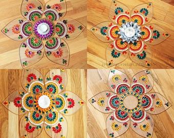 Rangoli Kundan art, Danmala Mandala, sunflower kundan rangoli,  - Jumbo Pan-  Red, Yellow, Green, White