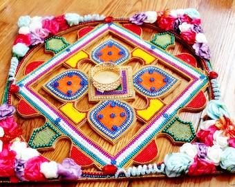 "Wood Rangoli decorated with fabric flowers beads and rhinestone, 12"" Wood cut out colorful rangoli, Diwali rangoli, Indian pooja Hindu decor"