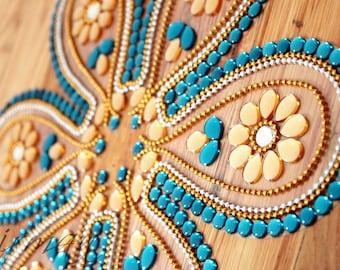 Rangoli, floor art, Indian wedding decor -  Tear drop shape -  set of 7 pieces