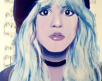 Stevie Nicks (Fleetwood Mac) PRINT of acrylic painting on sheet music