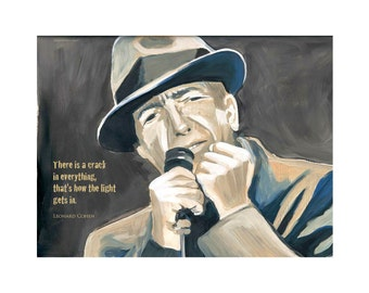 8.5 x 11 inch Leonard Cohen PRINT of acrylic painting with quote There's a crack in everything, that's how the light gets in