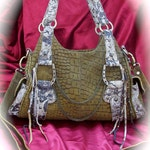 ON SALE Olive Green  distressed leather steampunk handbag distressed leather steampunk bag stud and brass detail