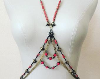 Shrunken Skulls Body Chain - Bird and Human Skulls - Bronze, Red, Orange Jewelry, Beads, Festival Jewels - One Size